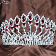 "Pageant 4"" Full Round Tiara Headband Red Crystal Hair Crown Wedding Bridal Prom"