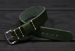 Italian Leather watch strap Army single pass Cuff watch band 18mm 20mm 22mm 24mm