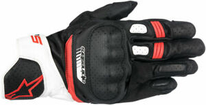Alpinestars SP-5 Leather Touchscreen Riding Gloves (Black/White/Red) S (Small)