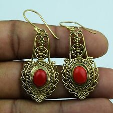 Red Coral Gemstone Handmade Designed Golden Earring Ethnic Jewelry VFJ722