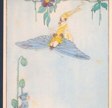 """MINT..! L.M. HINE...FAIRY RIDES BUTTERFLY,""""SAID HE'D LIKE TO PLAY"""",OLD POSTCARD"""