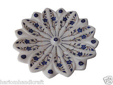 White Marble Fruit Bowl Lapis Floral Inlay Restaurant Table Decor Gift Art H1329