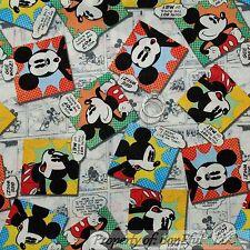 BonEful Fabric Cotton Quilt Disney Mickey Mouse Comic B&W Block Rainbow NR SCRAP