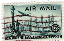 USA AIR MAIL 15 Cent ,Gestempelt, United States Postage,1947 15c New York Skylin