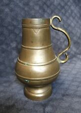 18th Century Antique Spanish Mediterranean Heavy Bulbous Bronze Tankard Jug