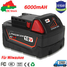 Für Milwaukee Akku M18 High Output 18 Volt 6,0Ah Li-Ion M18B5 Ersatz Batterie DE