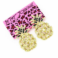 Betsey Johnson Crystal Rhinestone Pineapple Fruit Ear Stud Women's Earrings