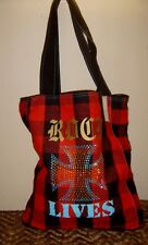 Black and Red Plaid Flannel Tote Bag rock lives studs Purse stud cross