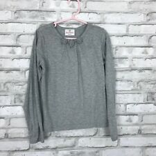 Hanna Andersson Girls 130 Crew Neck Gray Long Sleeve Tee Shirt Top Basic Size 8