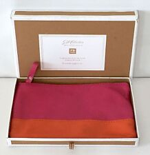POTTERY BARN TEEN Caroline Collection LARGE Leather Pouch, WARM-PINK/ORANGE, NEW