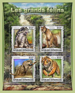 Central African Rep 2017 MNH Big Cats Tigers Leopards 4v M/S Wild Animals Stamps
