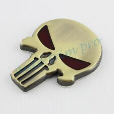 Car Vehicle Parts Skull Head Crossbones Badge Emblem Decal Sticker Copper Trim