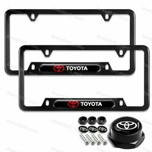 For 2PCS TOYOTA Black Stainless Steel Metal License Plate Frame
