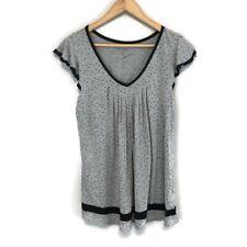 Ellen Tracy Gray Black Polka Dot V-Neck Short Sleeve Pajama Top Shirt Size Small