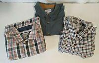 Carhartt LOT OF 3  Plaid/Solid  Men's Sz 2XL Short Sleeve Button Down Shirt