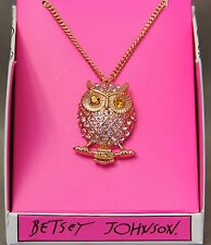 Betsey Johnson Gifting Owl Pendant Necklace New pink rhinestones