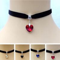 Velvet Choker Necklace Gothic Handmade Heart Crystal Pendant Retro Burlesque 90s
