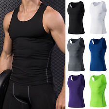 Mens Compression Tank Top T Shirt Base Layer Bodybuilding Summer Gym Sports Vest