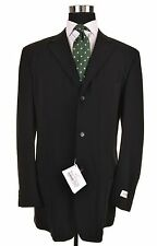 NWT Vestimenta Made in ITALY Black Twill Wool Coat Patch Pocket Jacket 56 46 NEW