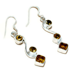 Faceted Citrine Gemstone silver plated Handmade Dangle Fashion Earrings
