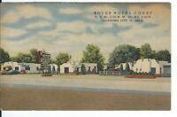 CB-351 OK, Oklahoma City, Boyer Hotel Court Linen Postcard Route 66 Old Cars