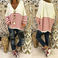 2018 Women's Striped V-neck long Sleeve blouse Oversized Knitted Casual jumper