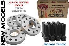 4PC 5X112 66.56 HUB BORE 30MM WHEEL SPACERS+ 20 BLACK EXTENDED LUG BOLTS