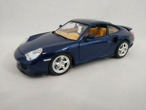 Bburago 1/18 Porsche 911 996 Turbo 1999 Dark Metallic Blue LHD Diecast Car
