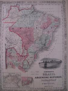 Hand Colored Map Johnson's Atlas Brazil Argentine Republic Uruguay Paraguay 1863