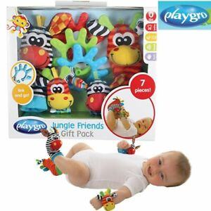 Playgro Soft Baby Sensory Toys Foot finder Sock Wrist Rattle Toy Gift Pack Au