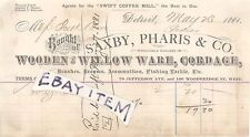 1884 Detroit Michigan SAXBY PHARIS & COMPANY Wooden & Willow Ware SWIFT COFFEE