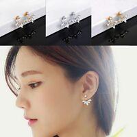 Fashion Lady Crystal Leaf Ear Drop Earrings Gold Plated Back Cuff Stud Earring