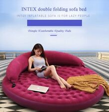 INTEX Round Inflatable Double Lounger Bed Foldable PVC Air Sofa/Mattress Pool
