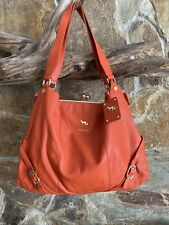 Emma Fox Leather Dressage Kiss-Lock Satchel Handbag — Hermes Orange