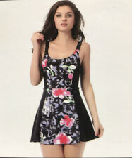 *Size 16* La ISLA BLACK/PINK FLORAL SKIRT SWIMSUIT/SWIMMING COSTUME/ SWIM SKIRT