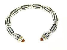LAGOS Caviar Sterling Silver 18K Yellow Gold with Amber Ends Cuff Bracelet