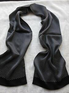 Men Vintage 100% Silk Scarf Double Layer Neckerchief Silky Elegant Classic Black