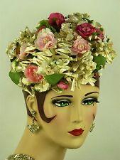 Sombrero Vintage 1950s, Irene de Nueva York, Hermoso Pastillero Floral En Rosas & Ivory