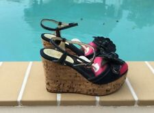 CHANEL DARK WASH DENIM FLOWER DETAIL & CORK WEDGE PLATFORM SANDALS Sz 40M