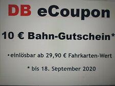 10 Euro Bahn Gutschein 10 € DB eCoupon * bis 18.09.2020 *BLITZVERSAND in 5 Min.*