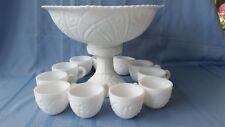 Vintage McKee White Milk Glass Punch Bowl Pedestal 11 Cups