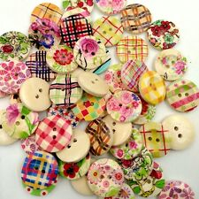 50Pcs Wooden Flower Check Buttons Sewing Crafts Wedding Scrapbooking Charms