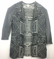 Chico's 2 Large Sweater Long Black White Open Front Duster Chunky Knit Cardigan