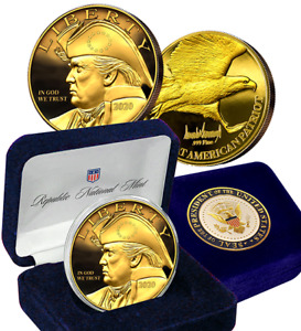 Patriotic Trump Gold Eagle Coin with Gift Box & Certificate