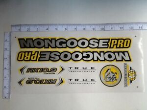 Mongoose PRO RX 10.9 Titanium Stickers  Silver, Black & Yellow. Die Cut.