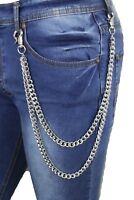 Men Silver Metal Wallet Chains Links KeyChain Jeans Biker 3 Strands Motorcycle