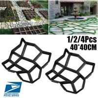 1/2/4Pcs DIY Driveway Concrete Stone Mold Paving Pathway Stepping Stone Mould US