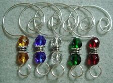 =^..^=   10 Color Glass Bead Ornament Hangers Hooks silver
