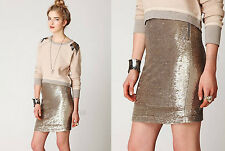 NWT FREE PEOPLE Anthropologie Gold Summer Sequin New Years Party Pencil Skirt S