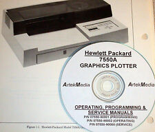 HP Hewlett Packard 7550A Operating, Program & Service Manual 3 volumes
